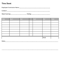 Timesheet for One Week, with Two Work Periods Per Day